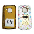 LV Louis Vuitton Luxury leather Cases Holster Covers for Nokia E5 - White