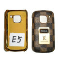 LV Louis Vuitton leather Cases Luxury Holster Covers for Nokia E5 - Brown