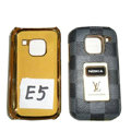 LV Louis Vuitton leather Cases Luxury Holster Covers for Nokia E5 - Gray
