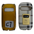 BURBERRY leather Cases Luxury Holster Skin for Nokia C7 - White