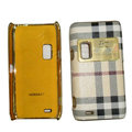Burberry leather Cases Luxury Holster Cases for Nokia E7 - White