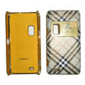 Burberry leather Cases Luxury Holster Covers for Nokia E7 - White