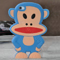 Cartoon Paul Frank 3D Silicone Cases Skin Covers for iPhone 4G/4S - Blue