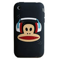 Cartoon Paul Frank Headset Silicone Cases Skin Covers for iPhone 3G/3GS - Black