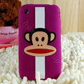 Cartoon Paul Frank Silicone Cases Skin Covers for iPhone 3G/3GS - Purple