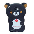 Cartoon Rilakkuma Silicone Cases Covers Skin for Samsung Galaxy Note i9220 N7000 - Black