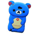 Cartoon Rilakkuma Silicone Cases Covers Skin for Samsung Galaxy Note i9220 N7000 - Blue