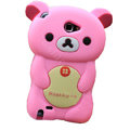 Cartoon Rilakkuma Silicone Cases Covers Skin for Samsung Galaxy Note i9220 N7000 - Pink