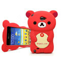 Cartoon Rilakkuma Silicone Cases Skin Covers for Samsung Galaxy Note i9220 N7000 - Red