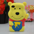 Cartoon Winnie the Pooh 3D Silicone Cases Skin Covers for iPhone 4G/4S - Yellow