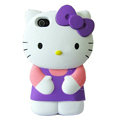 Hello kitty 3D Silicone Cases Skin Hard Covers for iPhone 4G/4S - Purple