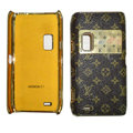 LV Louis Vuitton leather Cases Luxury Holster Cases for Nokia E7 - Black