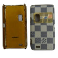 LV Louis Vuitton leather Cases Luxury Holster Cases for Nokia E7 - White