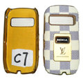 LV Louis Vuitton leather Cases Luxury Holster Covers for Nokia C7 - Beige