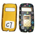 LV Louis Vuitton leather Cases Luxury Holster Covers for Nokia C7 - Black