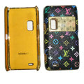 LV Louis Vuitton leather Cases Luxury Holster Covers for Nokia E7 - Black