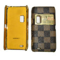 LV Louis Vuitton leather Cases Luxury Holster Covers for Nokia E7 - Brown