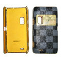 LV Louis Vuitton leather Cases Luxury Holster Covers for Nokia E7 - Gray