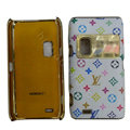LV Louis Vuitton leather Cases Luxury Holster Covers for Nokia E7 - White
