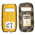 LV Louis Vuitton leather Cases Luxury Holster Skin for Nokia C7 - Brown
