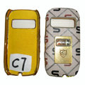 Leather Cases Luxury Holster Covers for Nokia C7 - White