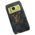 Luxury LV Louis Vuitton leather Cases Holster Covers for Nokia N8 - Gray