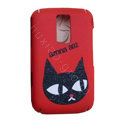 Cartoon Cat Scrub Hard Skin Cases Covers for Blackberry 9000 - Red