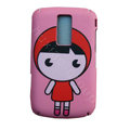 Cartoon Cute girl Scrub Hard Skin Cases Covers for Blackberry 9000 - Pink