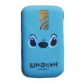 Cartoon Stitch Scrub Hard Skin Cases Covers for Blackberry 9000 - Blue