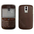 Front and Back Housing With Keypad Fullset Leather Case for Blackberry Bold 9000 - Brown