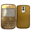 Front and Back Housing With Keypad Fullset Leather Case for Blackberry Bold 9000 - Gold