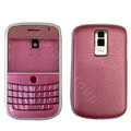 Front and Back Housing With Keypad Fullset Leather Case for Blackberry Bold 9000 - Pink