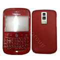 Front and Back Housing With Keypad Fullset Leather Case for Blackberry Bold 9000 - Red