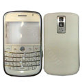 Front and Back Housing With Keypad Fullset Leather Case for Blackberry Bold 9000 - White
