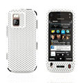 Front and Back Mesh Cases Skin Covers for Nokia N97 mini - White
