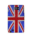 Bling British flag Swarovski Crystals Cases Covers For Samsung Galaxy Note i9220 N7000 - Red