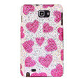 Bling Hearts Swarovski Crystals Cases Covers For Samsung Galaxy Note i9220 N7000 - Pink