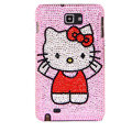 Bling Hello kitty Swarovski Crystals Cases Covers For Samsung Galaxy Note i9220 N7000 - Pink