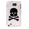 Bling Skull Swarovski Crystals Cases Covers For Samsung Galaxy Note i9220 N7000 - White