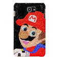 Bling Super Mario Swarovski Crystals Cases Covers For Samsung Galaxy Note i9220 N7000 - Red