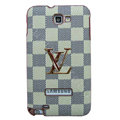 LV Louis Vuitton Luxury leather Cases Holster Skin for Samsung Galaxy Note i9220 N7000 - Beige