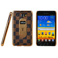 LV Louis Vuitton Luxury leather Cases Holster Skin for Samsung Galaxy Note i9220 N7000 - Brown