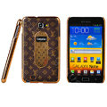 LV Louis Vuitton Luxury leather Cases Holster for Samsung Galaxy Note i9220 N7000 - Brown