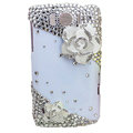 Bling Flowers Crystals Cases Covers for HTC Sensation XL Runnymede X315e G21 - White