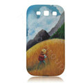 Painting Person TPU Soft Cases Covers for Samsung I9300 Galaxy SIII S3 - Gold