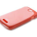 ROCK Colorful Glossy Cases Skin Covers for HTC Ville One S Z520E - Red (High transparent screen protector)