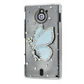 Bling Angel Crystals Hard Cases Covers for Sony Ericsson MT27i Xperia sola - Blue