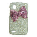 Bling Bowknot Crystals Hard Cases Pearl Covers for HTC T328W Desire V - White