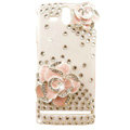 Bling Flower Crystals Hard Cases Covers for Sony Ericsson ST25i Xperia U - Pink