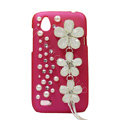Bling Flower Crystals Hard Cases Diamond Covers for HTC T328W Desire V - Rose